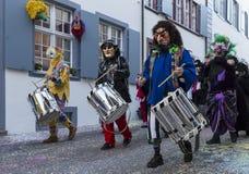 Jugadores 2017 del tambor del carnaval de Basilea Fotografía de archivo