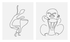 Jugadores dibujados mano del djembe Imágenes de archivo libres de regalías