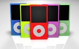 Jugadores Mp3 multicolores Fotografía de archivo