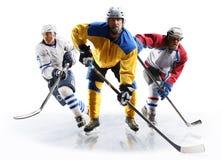 Jugadores profesionales del hockey sobre hielo en la acción Foto de archivo libre de regalías