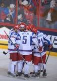 Jugadores rusos del hockey sobre hielo Imagen de archivo