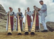 Jugadores tulnic femeninos rumanos Imagen de archivo libre de regalías