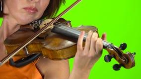 Jugando un cierre del violín para arriba Pantalla verde almacen de video
