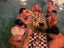 Jugar a ajedrez en el agua con los kibitzers Foto de archivo