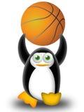 Jugar a baloncesto con el pingüino ilustración del vector