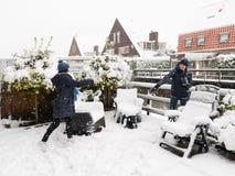 Jugar bolas de nieve en un patio trasero Fotografía de archivo