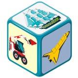 Jugar dados isométricos con el medio de transporte, camión, barco, avión, juguete Imagen de archivo