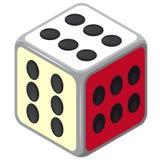 Jugar dados isométricos Cubo feliz del juego del casino de Colorfull en blanco Imágenes de archivo libres de regalías