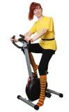Jugar deportes en un velosimulator Foto de archivo libre de regalías