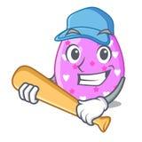 Jugar el recortes de la historieta del huevo de Pascua del béisbol en la trayectoria ilustración del vector