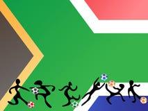 Jugar a fútbol en fondo del indicador de Suráfrica Foto de archivo libre de regalías