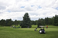 Jugar a golf Fotos de archivo libres de regalías
