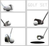 Jugar a golf. Pelota de golf y club. Imagenes de archivo