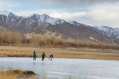 Jugar a hockey sobre hielo en la charca congelada Imagen de archivo libre de regalías