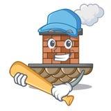 Jugar la chimenea del ladrillo del béisbol en la mascota de la forma ilustración del vector