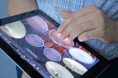 Jugar los tambores en Ipad Foto de archivo libre de regalías