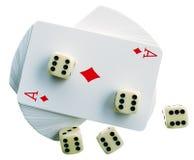 Jugar-tarjetas y huesos Foto de archivo libre de regalías