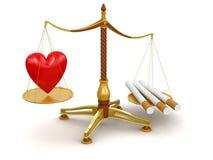 Juge Balance avec les cigarettes et le coeur (chemin de coupure inclus) illustration de vecteur