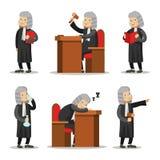 Juge Cartoon Character Set Loi et justice illustration libre de droits