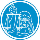 Juge Circle de Madame Blindfolded Hold Scales Photographie stock libre de droits