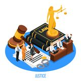 Juge Isometric Composition de loi illustration stock
