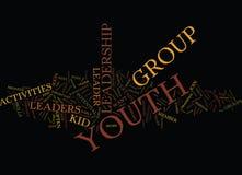 Jugend-Führungs-Tätigkeits-Text-Hintergrund-Wort-Wolken-Konzept stock abbildung