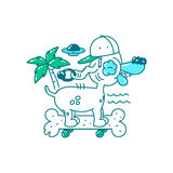 Jugend-T-Shirt Druckdesign Kühler Hund im Hut auf Skateboardknochen fährt auf den Strand Palme, UFO und Meer Vektorgekritzel illu Lizenzfreie Stockfotografie