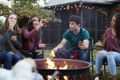 Jugendfreunde, die sï ¿ ½ Sitten um ein firepit essen stockbilder