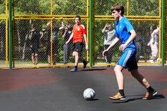 Jugendfußballyard Lizenzfreies Stockfoto
