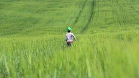 Jugendlich Betrieb über dem Feld unter grünem Gras stock footage