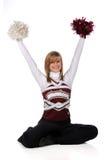 Jugendlich Cheerleader mit Pom Poms lizenzfreie stockfotografie