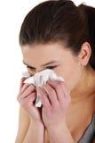 Jugendlich Frau mit Allergie oder Kälte Lizenzfreie Stockfotografie