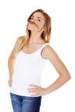 Jugendlich Frau mit einem Schnurrbart stockfotografie