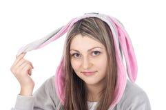 Jugendlich gekleidetes Kaninchenportrait lizenzfreies stockbild
