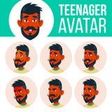 Jugendlich Jungen-Avatara-gesetzter Vektor Inder, Hindu Asiatisch Stellen Sie Gefühle gegenüber Ausdruck, positive Person Schönhe stock abbildung