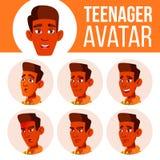 Jugendlich Jungen-Avatara-gesetzter Vektor Inder, Hindu Asiatisch Stellen Sie Gefühle gegenüber Kopf, Ikone Kindisch, Glück-Genus stock abbildung