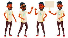 Jugendlich Jungen-Haltungen eingestellter Vektor Inder, Hindu Asiatisch Positive Person Für Postkarte Abdeckung, Plakat-Design Lo lizenzfreie abbildung