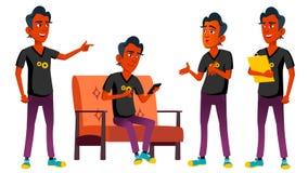 Jugendlich Jungen-Haltungen eingestellter Vektor Inder, Hindu Asiatisch Schönheit, Lebensstil Für Netz Plakat, Broschüren-Design  lizenzfreie abbildung