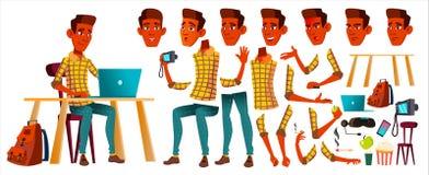Jugendlich Jungen-Vektor Animations-Schaffungs-Satz Inder, Hindu Asiatisch Gesichts-Gefühle, Gesten Freizeit, Lächeln belebt für lizenzfreie abbildung