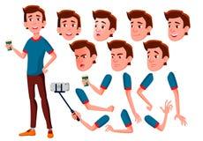 Jugendlich Jungen-Vektor jugendlicher Gesicht Kinder Gesichts-Gefühle, verschiedene Gesten Animations-Schaffungs-Satz Lokalisiert vektor abbildung
