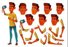 Jugendlich Jungen-Vektor jugendlicher Inder, Hindu Asiatisch Freundlich, Beifall Gesichts-Gefühle, verschiedene Gesten Animations lizenzfreie abbildung