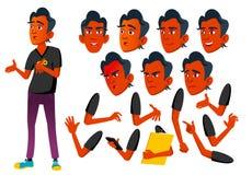 Jugendlich Jungen-Vektor jugendlicher Inder, Hindu Asiatisch Lustig, Freundschaft Gesichts-Gefühle, verschiedene Gesten Animation lizenzfreie abbildung
