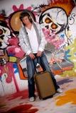 Jugendlich Koffer-Graffitiwand Lizenzfreie Stockbilder