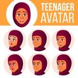 Jugendlich Mädchen-Avatara-gesetzter Vektor Araber, Moslem Stellen Sie Gefühle gegenüber Flach, Porträt Nett, komisch, Netz Karik lizenzfreie abbildung