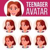 Jugendlich Mädchen-Avatara-gesetzter Vektor Stellen Sie Gefühle gegenüber Hoch, Kinderschüler Klein, Junior Karikatur-Hauptillust lizenzfreie abbildung
