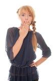 Jugendlich Mädchen deckte ihren Mund war überrascht ab Stockfotografie