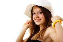 Jugendlich Mädchen des Sommers freundlich beim Panamagenießen stockfoto