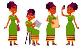 Jugendlich Mädchen-Haltungen eingestellter Vektor Inder, Hindu Asiatisch Freizeit, Lächeln Für Netz Broschüre, Plakat-Design Loka stock abbildung