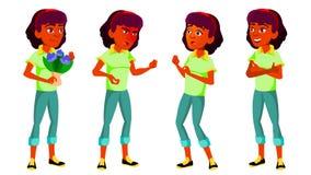 Jugendlich Mädchen-Haltungen eingestellter Vektor Inder, Hindu Asiatisch Positive Person Für Postkarte Abdeckung, Plakat-Design L lizenzfreie abbildung