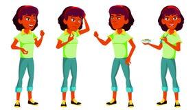 Jugendlich Mädchen-Haltungen eingestellter Vektor Inder, Hindu Asiatisch Recht Jugend Für Postkarte Mitteilung, Abdeckungs-Design vektor abbildung
